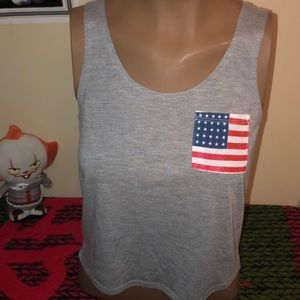 Fifth sun grey top with American flag size XS